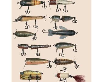 Rustic Lure, Handmade Fish Lure,Folk Art Fish Lure,Rustic Fishing Lure, Fishing Decor, Antique Fish Lure,Faux Lure,Lure Ornament,Fisherman