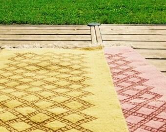 Kilim rug Berber Diamond Pink or mustard wool handwoven 1mx60cm