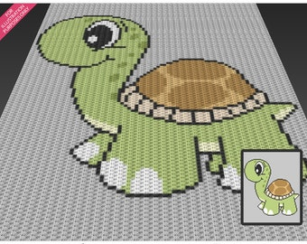 Cute Turtle crochet blanket pattern; c2c, cross stitch; knitting; graph; pdf download; no written counts or row-by-row instructions