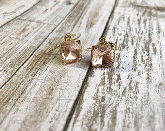 Champagne dangle earrings/ gemstone earrings / champagne earrings / gold dangle earrings