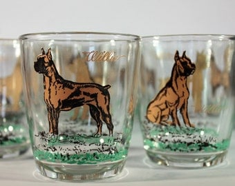 Willie the Boxer Dog Rocks Glasses (Set of 8)