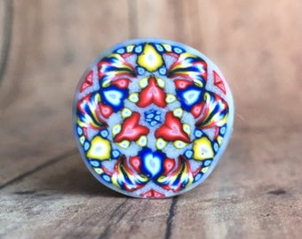 Polymer clay cane, primary colors, kaleidoscope