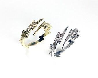 SALE Lightning bolt ring ,lightning ring ,tiny ring ,bolt ring ,Adjustable ring, Open ring, Gold cz ring, Silver cz ring