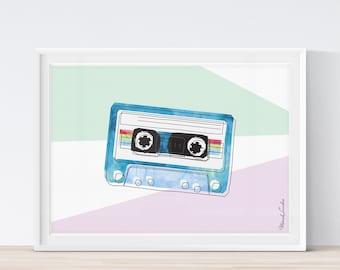 Mix Tape, Compact Cassette Print, Nursery Art, Retro Cassette Tape Print, Watercolor Print, Kids Room Art, Eighties Art, Printable