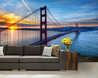 San Francisco wallpaper, San Francisco bridge wall mural, Cities wallpaper, self-adhesive vinly, bridge wall mural, golden gate bridge,
