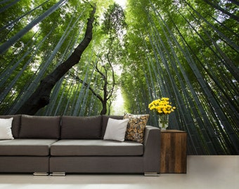 Bamboo forest wallpaper, trees wall mural, bamboo wallpaper, green forest wallapaper, self-adhesive , bamboo wall, mystic forest wallpaper,