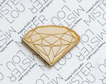 Wooden Brooch - Geometric diamond