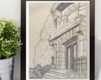Pencil drawing, Original sketch, architecture print. Graphite Drawing, Mansion drawing  New Orleans Garden District