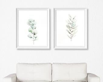 Green Botanical Print Eucalyptus. Minimalist home decor, modern watercolor wall art.
