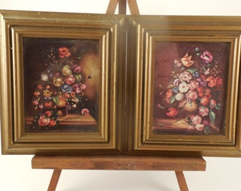 Pair Small Vintage Floral Pictures Italy