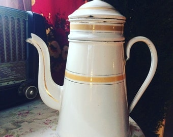 French enamel coffee pot from the 30s. Complete. french COFFEE POT. Enamelware. White and yellow