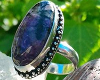 Stunning Charoite ring size 53 or Non-adjustable 6.5 US