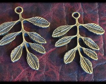 Beautiful Antique Brass Leaf Charms Drops Pair - 35mm - A30