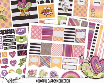"""Planners Stickers - Dividers """"My Colorful Garden"""" large letter size four pack."""