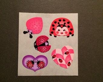Sandylion vintage rare kromekote/paper ladybug stickers