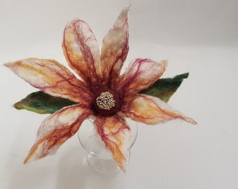 FF0015 - Hand Made Wool Felt Flower with clip/pin backing