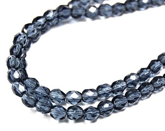 100/pc Montana Blue Czech 4mm Fire-polished Faceted Round Beads