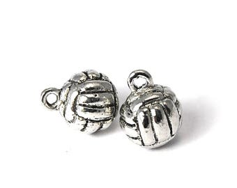 2pc, Volley Ball Charm, Pewter