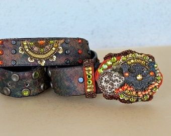 Vintage Hand embroidered Swarovski Crystal Belt with Buckle