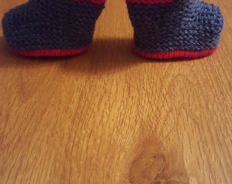 Hand knitted baby wellington boots