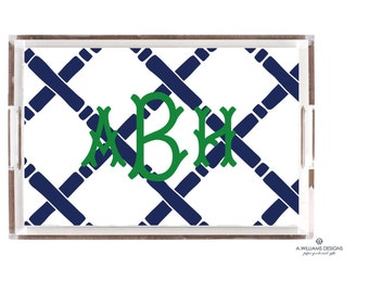 Bamboo Lucite Tray/Monogrammed Acrylic Tray/Lucite catch all/8.5x11-12x12-11x17/Desk Tray/Bridesmaid gift/Newlywed gift/Housewarming gift