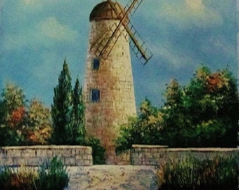 "Jerusalem windmill oil painting on canvas 24""x20"" (60cmx50cm)"