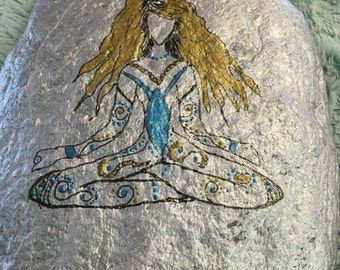 Wiccan Painted Goddess Stone