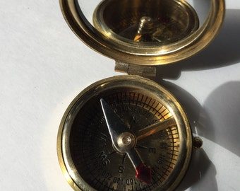 """Flip mirror lid Traditional Style Solid Brass Pocket 2"""" Compass"""