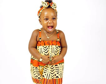 African Print Baby Dress, Spaghetti Strap with Head Band Bow Set
