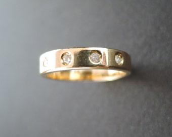 18K yellow gold eternity band with diamonds 18K wedding band