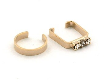 Geometry (Square & Circle) Bijou Set Cuff Earrings, Brass with Light Gold Coating, Glass