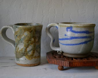 Studio Pottery Mugs Set of 2 Coffee cups hand thrown/vintage/boho/earthy/natural/kitchen/home decor