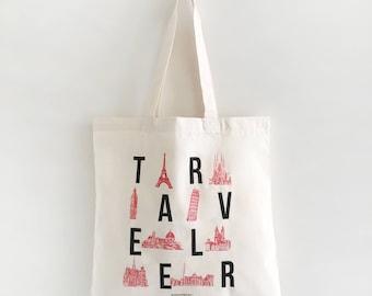 Traveler, Tote Bag, Gift For Her, World Tote Bag, Girlfriend Gift, Birthday Gift, Market Bag, Grocery, Illustration, Travel, Europe, World