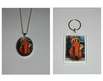 Snuffy Sesame Street Old School snuffleupagus  Glass Pendant Necklace, Keychain, and or Magnet