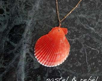 Red orange scallop and pur 14c gold filled chain