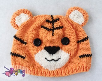 KNITTING PATTERN Tiger Hat Baby Size PDF