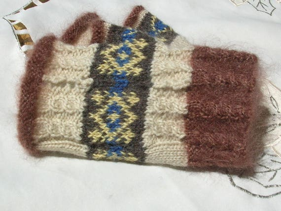Fair Isle Fingerless Mitts Arm Warmers Wrist Warmers Size