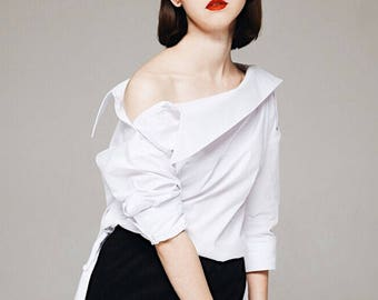 Double Collar Off Shoulder Shirt
