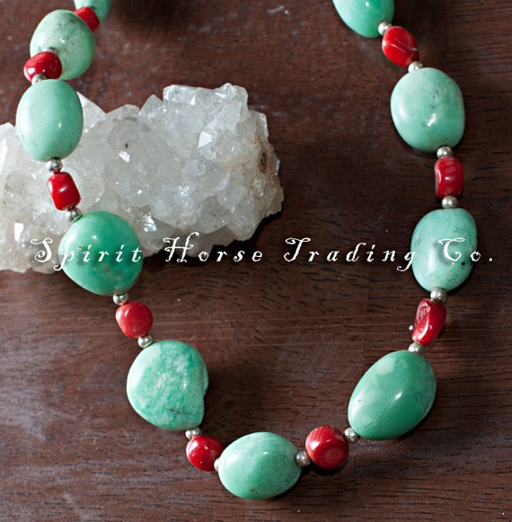 """Chrysoprase and Red Coral Necklace. Silver beads. 18"""" long. Unique, one of a kind."""
