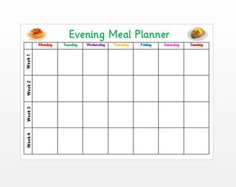 A4 Weekly Evening Meal Planner - Reusable, ready made, kitchen planner, plan your meals, laminated card.