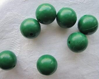 100 beads, 14 mm, plastic, acrylic, green, round