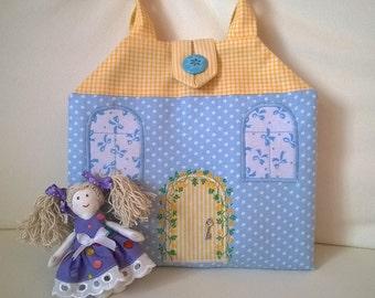 Кукольный домик-сумочка, Сумка-домик для куклы, Домик-сумочка, игровой домик, кукольный дом, сумочка для девочки, подарок девочке, подарок