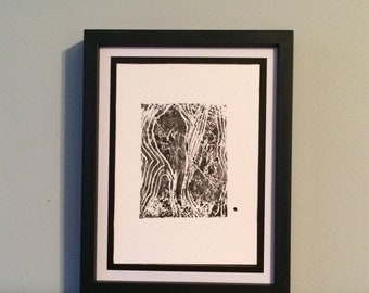 Abstract Contour Figure- Original Relief Print