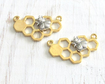 bee pendant, Bee charms, honey comb charms, bee pendant, Bee connectors, gold honey bee, queen bee charms, silver bee charms, necklace charm
