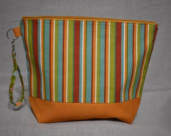 Striped Project Bag, Medium Bag for Knitting or Crochet