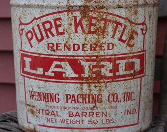Vintage Lard Can, Metal Lard Can, Lard Tin, Pure Kettle Lard Bucket, 50 Lbs Lard Can