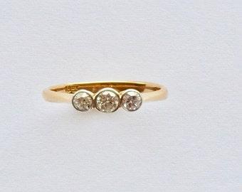 Antique Edwardian 18ct Three Diamond Ring