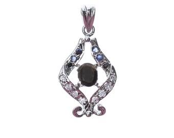 Smoky quartz Sapphire Pendant in silver