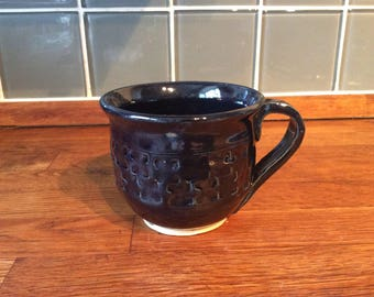 Handmade mug, tea, coffee, wheel thrown pottery, ceramics, Bristol crafts, gift, for her, for him, navy blue