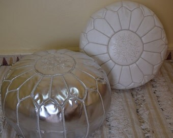 Set of 2 moroccan poufs, ottoman luxury white & silver floor poufs, moroccan home decor